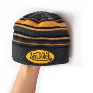 Yellow grey & black stripped Von Dutch beanie hat